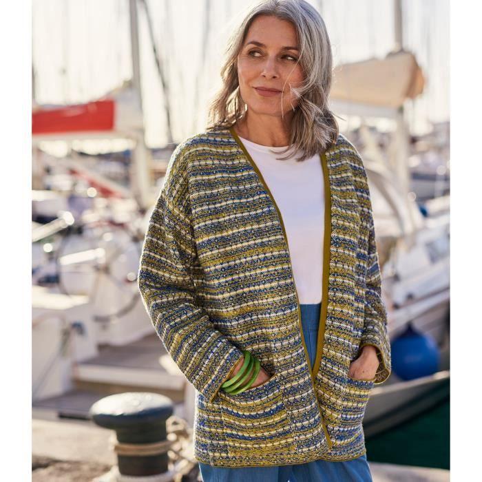 WoolOvers Cardigan Jacquard à manches Kimono Femme Coton mélangé Bleu/Jaune