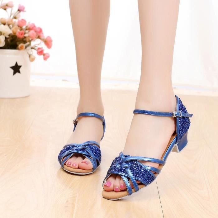 Haute qualité filles enfants enfants salle de bal Tango Salsa chaussures de danse latine sandales Bleu
