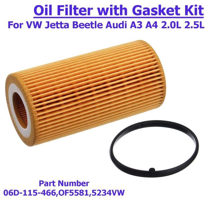 1x Filtre à huile moteur avec Joint Pour VW Jetta Beetle Golf Audi A3 A4 2.0L 2.5L