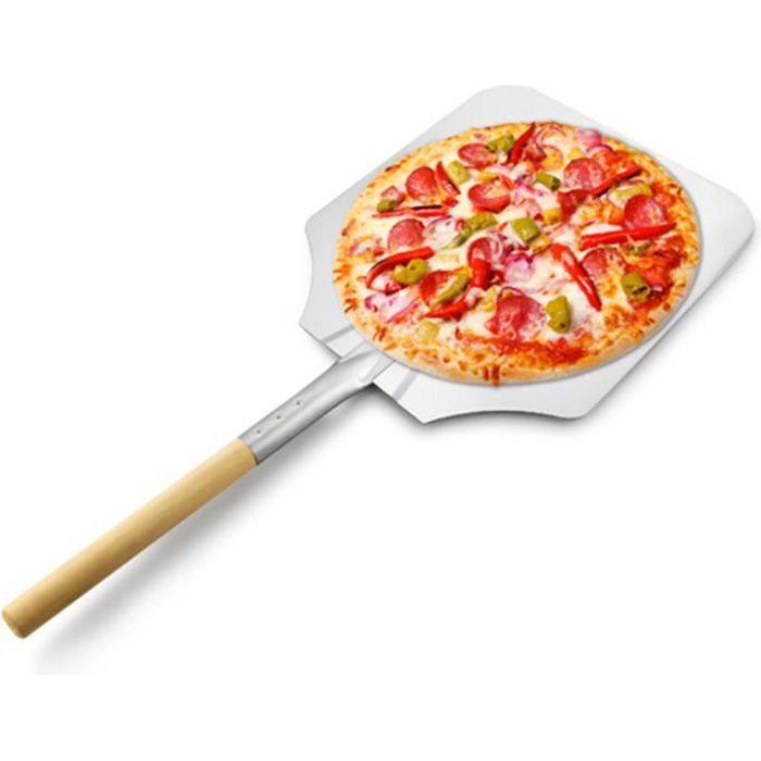 Pelle à pizza en aluminium de 66 cm avec poignée en bois