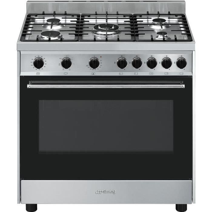 Smeg B90GMXI9, Cuisinière, Noir, Acier inoxydable, Rotatif, Devant, Cuisinière à gaz, Gaz naturel