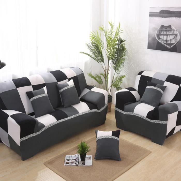 Housse de canapé 3 places 190-230cm + 1 place 90-140cm + 3 Taies d'oreiller 45x45 cm
