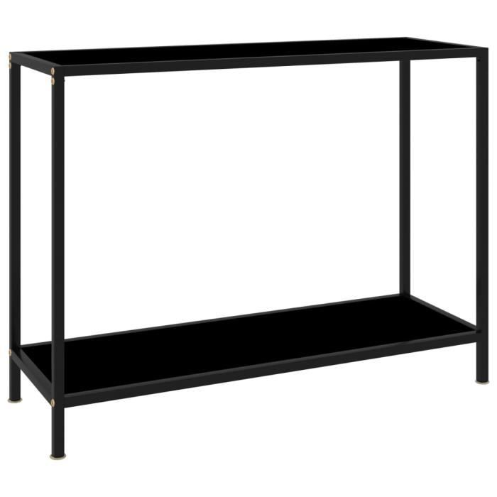 Table console Noir 100x35x75 cm Verre trempé-LEF
