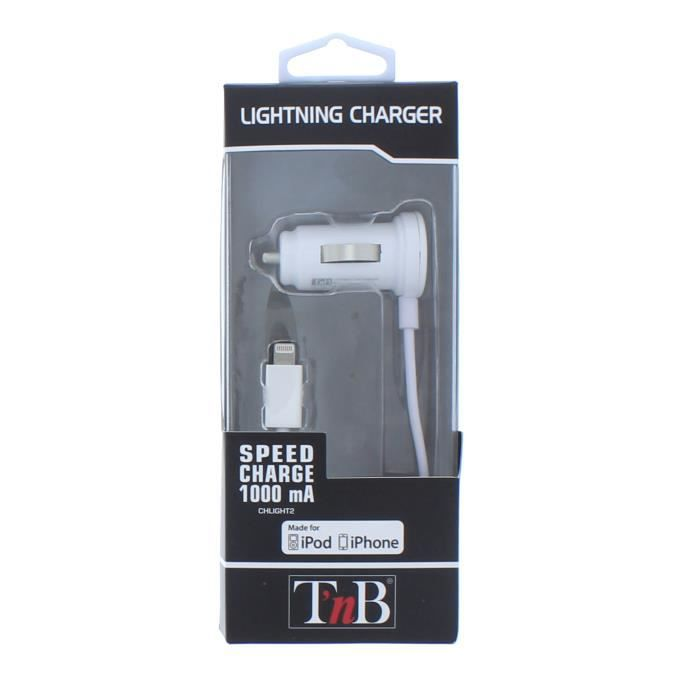 TNB Chargeur allume-cigare + câble lightning pour iPhone 5-6-7 - Blanc