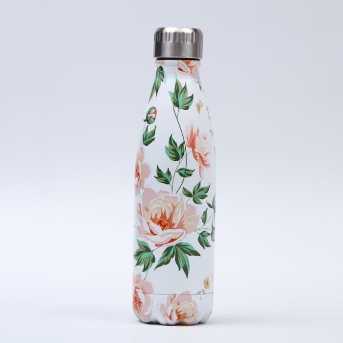 Bouteille d'eau en Acier Inoxydable Fleur Imprimé Thermos 500ml Double Paroi Isolée sous Vide Gourde Isothermes - Style 102