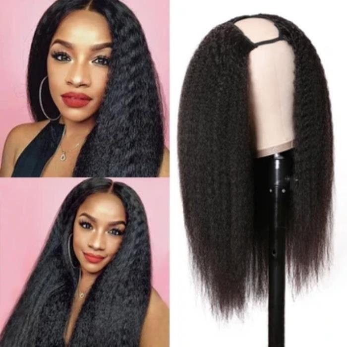 12pouce Cheveux U Partie Perruque Crépus Droite Perruque De Cheveux Humains Pour Les Femmes