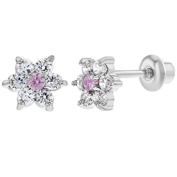 Rose Cristaux Clairs Plaqu/é or 18k Tiges poussettes s/écurit/é /à vis C/œur Boucles d/'oreilles In Season Jewelry Enfants