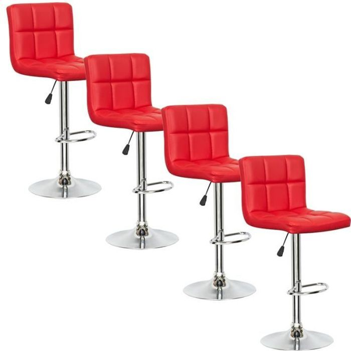 Lot de 4 tabourets de bar rouge scalo achat vente tabouret de bar rouge - Lot 4 tabouret de bar ...