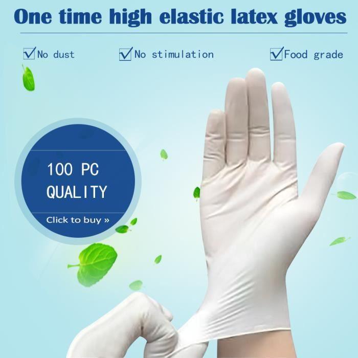 Gants jetables en nitrile sans poudre bo/îte de 100 S blanc sans latex gants de protection de qualit/é alimentaire sans danger pour les aliments
