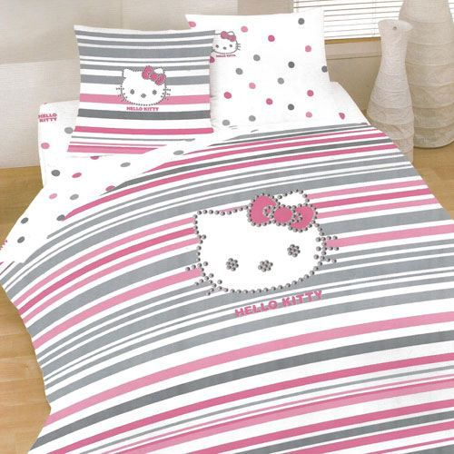 parure de lit hello kitty strass 200 x 200 achat vente. Black Bedroom Furniture Sets. Home Design Ideas