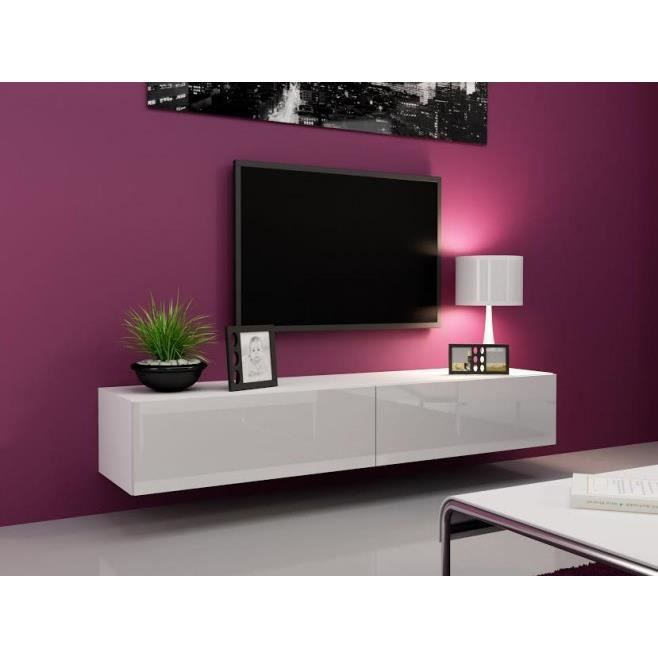 Meuble tv bas design blanc for Meuble bas tv design