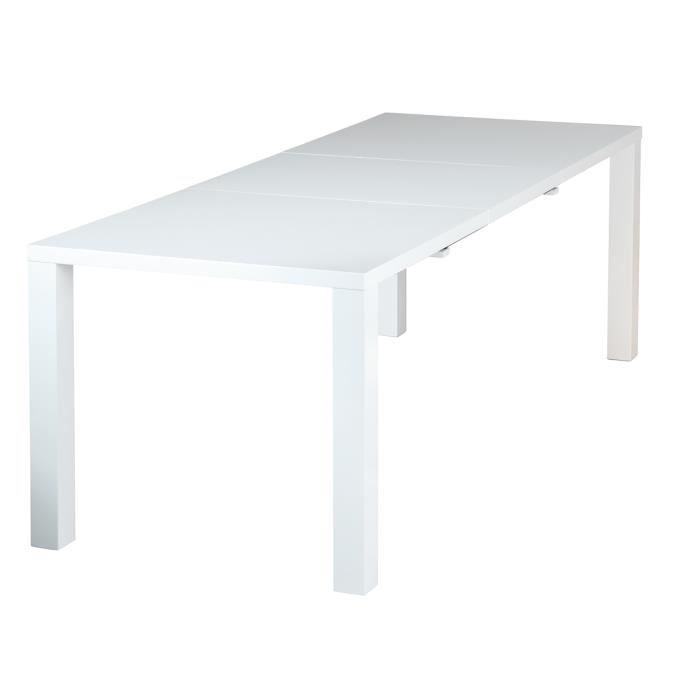 Table de s jour rallonge design blanc laqu achat - Table blanc laque rallonge ...