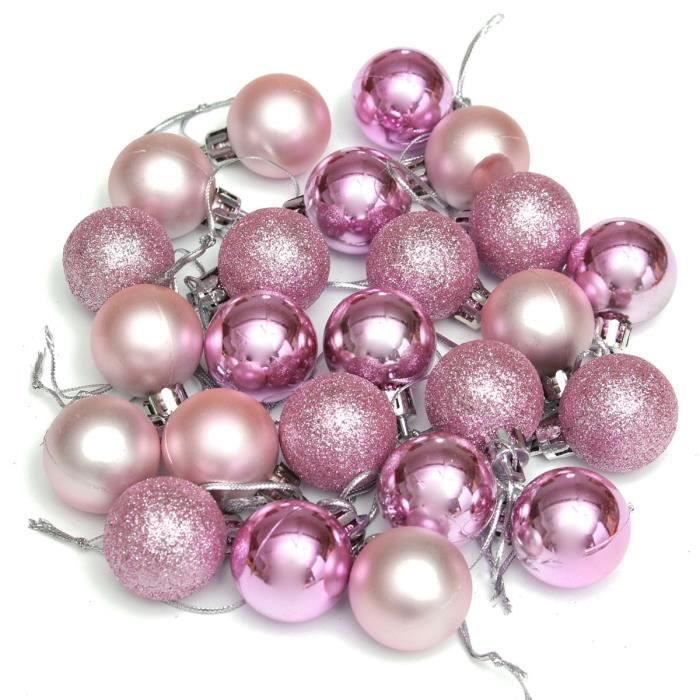 24pcs boules sapin de no l ronde d coration suspendu rose for Decoration de noel rose