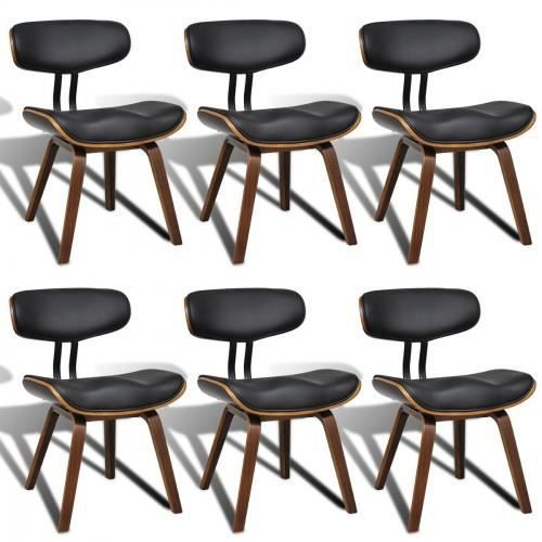 lot de 6 chaises de salle manger en cuir artificiel avec. Black Bedroom Furniture Sets. Home Design Ideas