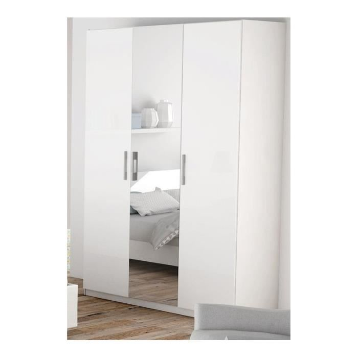 armoire blanche 3 portes miroir jaipur achat vente. Black Bedroom Furniture Sets. Home Design Ideas