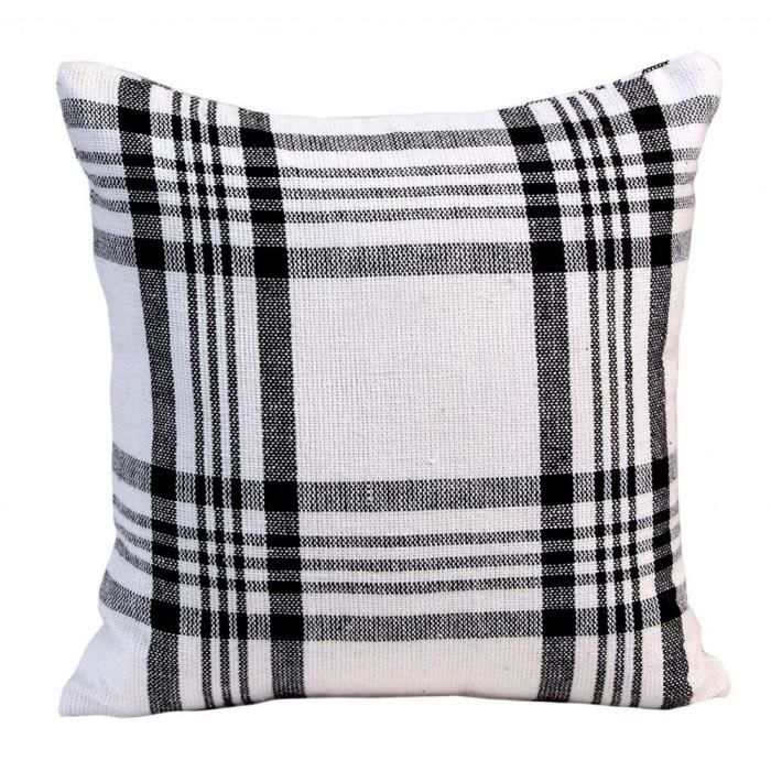 coussin d houssable carreaux tartan noir et blanc 45 x 45. Black Bedroom Furniture Sets. Home Design Ideas