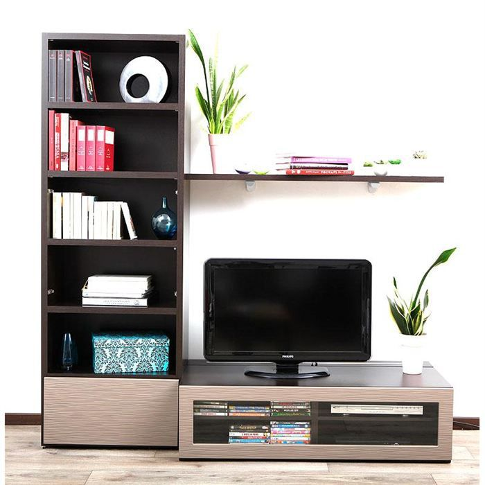Ensemble mural tv design chocolat et taupe isis achat vente meuble tv ens - Ensemble tv mural design ...