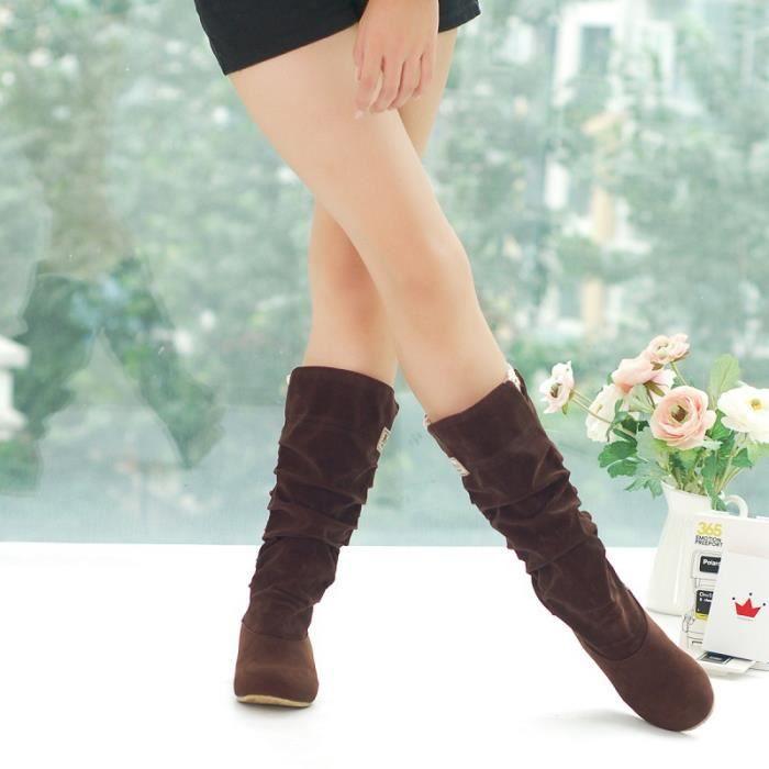 Bottes augmentation femmes Femmes mi Bottes pour Hauteur Bottes mollet Chaussures Casual Bottes Ladies rCexodB