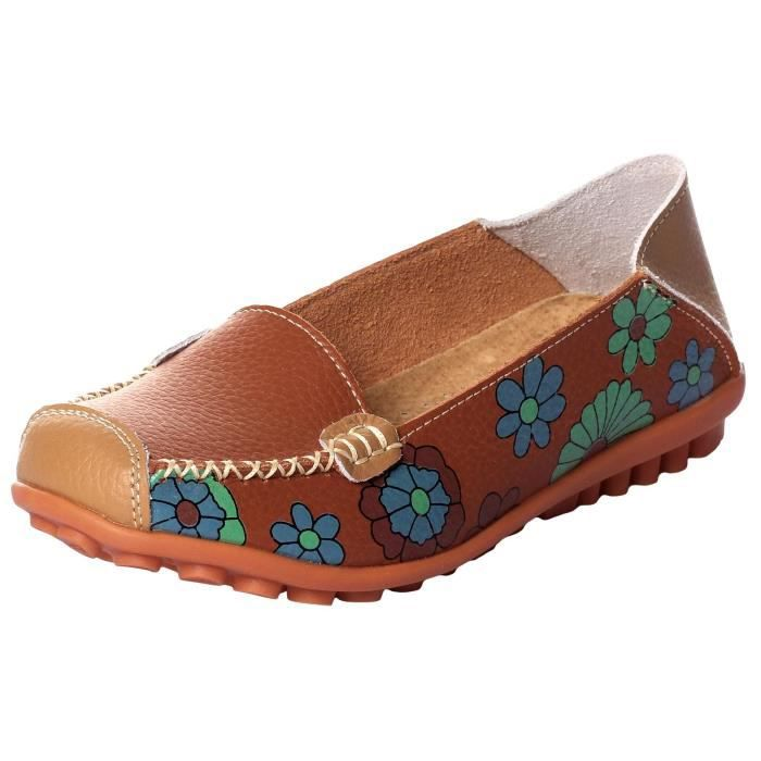 Womens Casual Slip Imprimer Floral On Walking Driving Mocassins U9OCI Taille-41