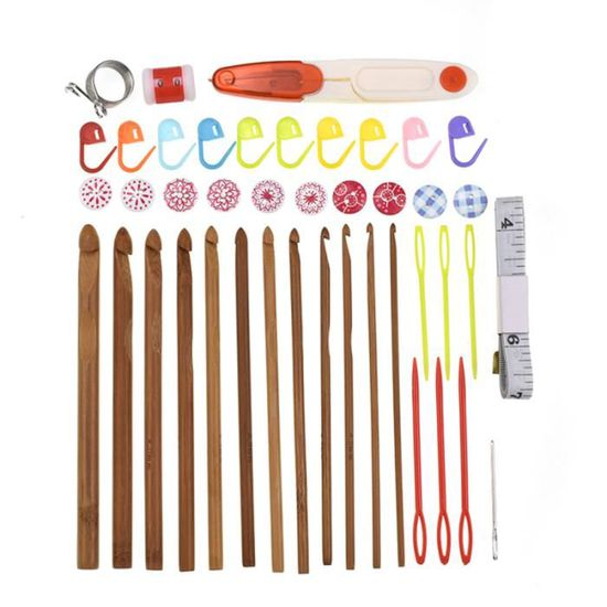 8 Pcs Doux Poignée en aluminium Crochet Hook Knitting Knit Needle Weave fil Set