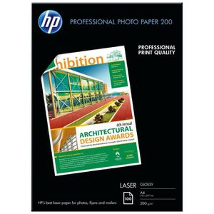 HP Papier Photo Brillant Laser 200 GSM - 100 feuilles - A4 - 210 x 297 mm