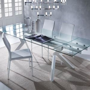 TABLE À MANGER SEULE Table en verre extensible taupe design AURELIA  Bl
