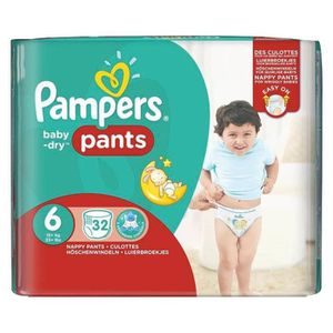 COUCHE Pampers Couches Baby-Dry Pants Taille 6 Géant (15K