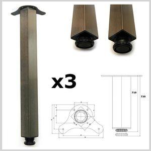 PIED DE TABLE Lot de 3 pied de table 710mm chrom brossé meuble c