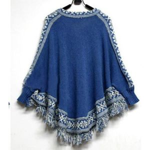 PONCHO Pull Tricot Cape Ourlet Poncho Glands Femme Mode C