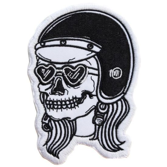 ecusson Punisher USA Noir Tete de Mort Skull Crane Moto Biker thermocollant 9x6cm patche Insigne Biker