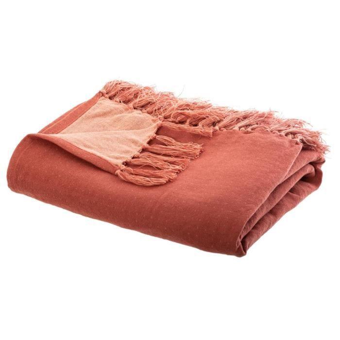 Atmosphera - Jeté de Lit en coton 130x180 bicolore terracotta foncé et clair blush linving Terracotta