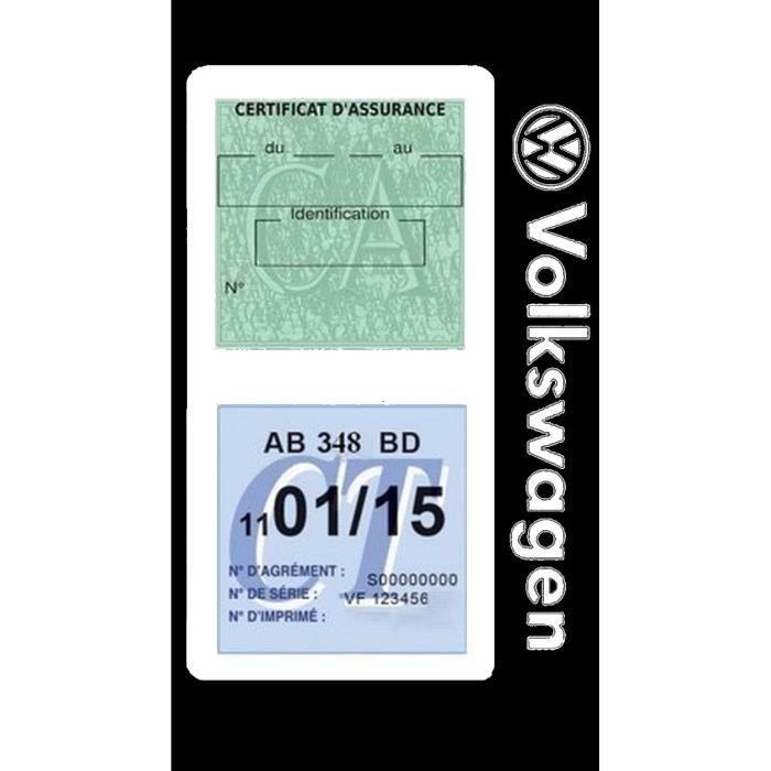 Double porte vignette assurance Volkswagen sticker adhésif couleur Blanc