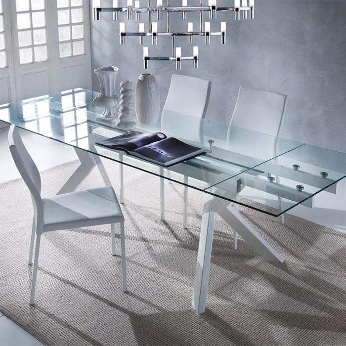 Table en verre extensible taupe design AURELIA Blanc