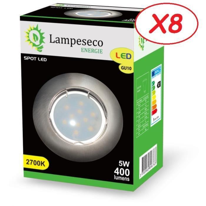 Lot de 8 Spot Led Encastrable Complete Alu Brossé Lumière Blanc Chaud 5W eq.50W ref.763