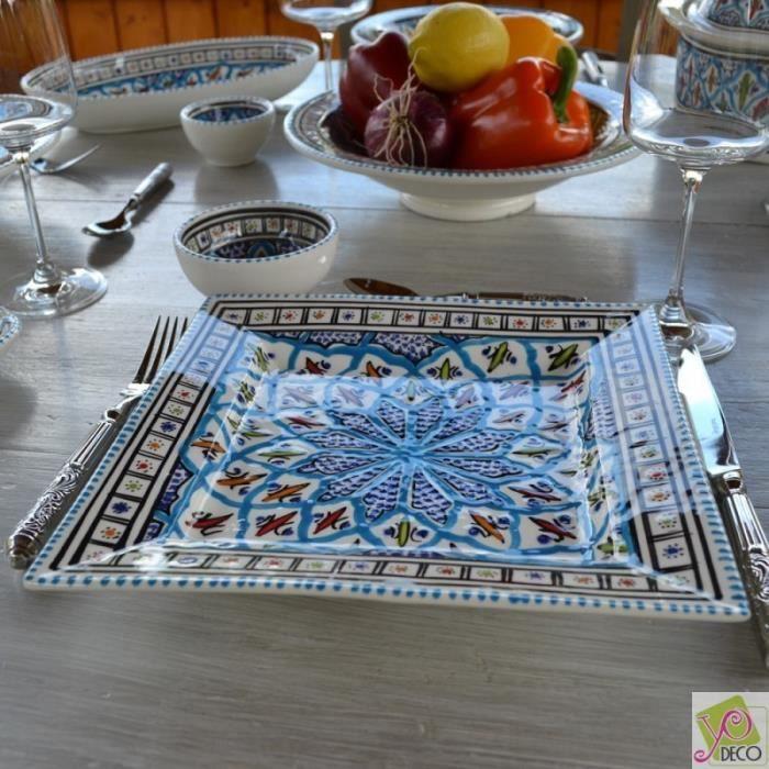 Assiette carrées Bakir turquoise - L 24 cm