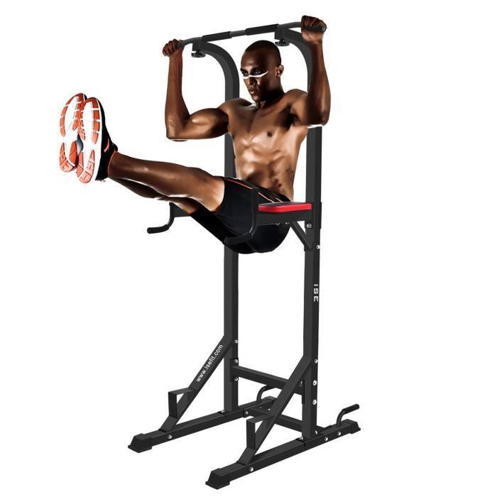 ISE Chaise Romaine Station Traction dips Multifonctions Barre de Traction dips Banc de Musculation Power Tower