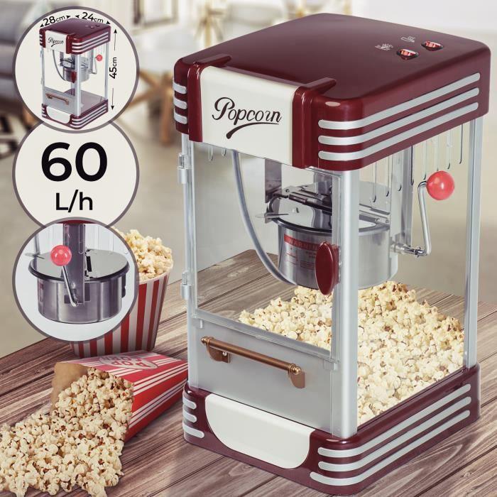 Machine à Pop corn Retro Popcorn Salé et Sucré Nostalgia 330-360W 60L/h, 200g/10min Maïs Soufflé Vintage