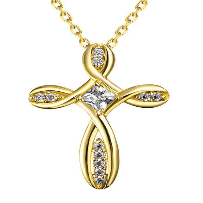 JewelleryClub Collier Avec Pendentif Collier Croix 18K Plaqué Or Cristal Swarovski Elements pour les Femmes