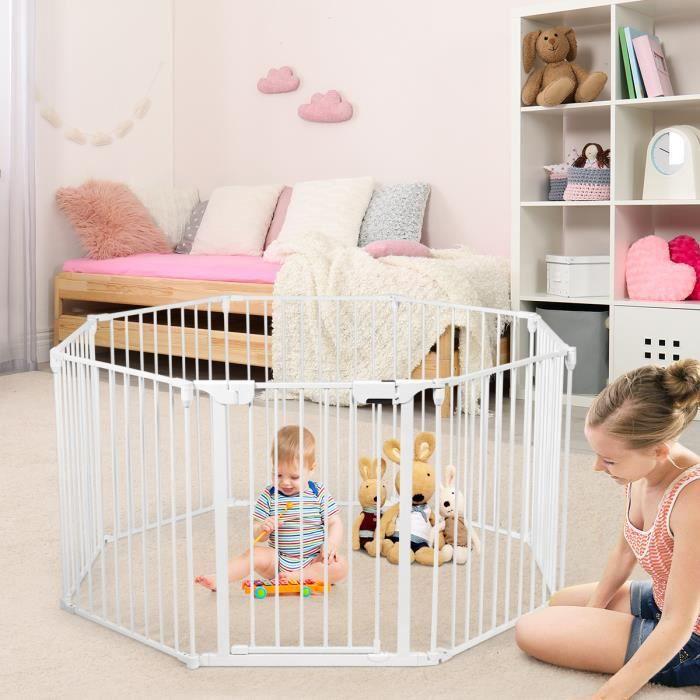 COSTWAY Barrière de Sécurité Enfant 8 Panneaux -500 CM Pare-Feu de Cheminée Blanche