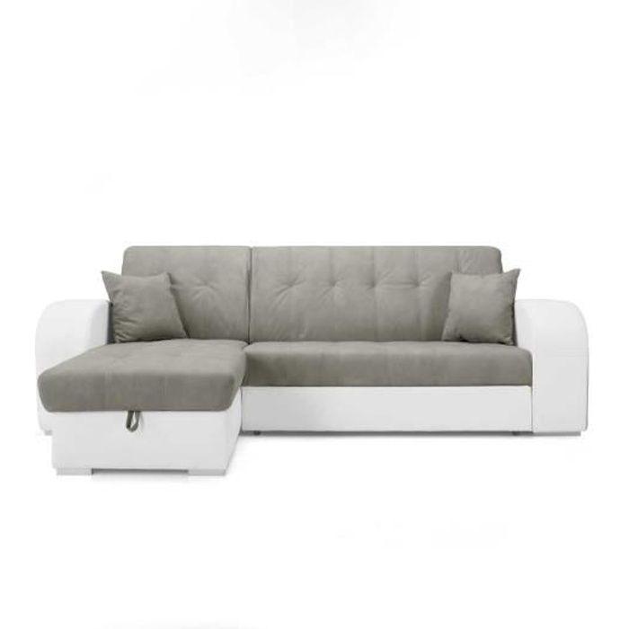 Canapé d'angle GENOVA en simili cuir gris nubuck blanc