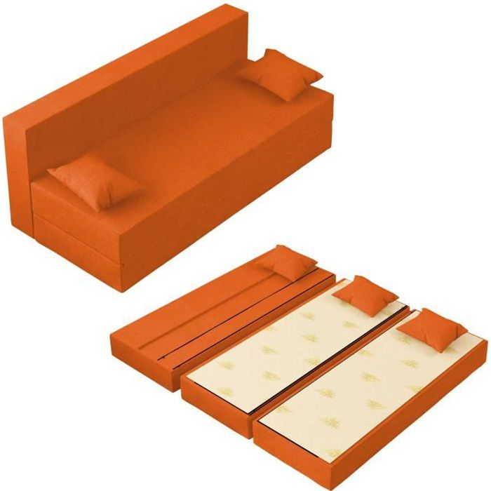 Canapé Lit Tetris Convertible Modulable Réversible 3 places - Tissu dehoussable et lavable Couleur Orange