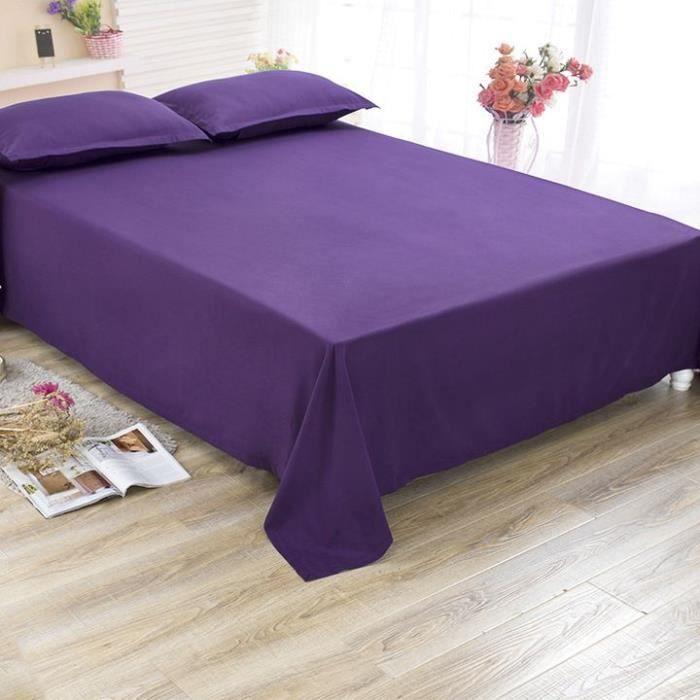 Drap Plat Couleur Unie 240 x 260 - Violet