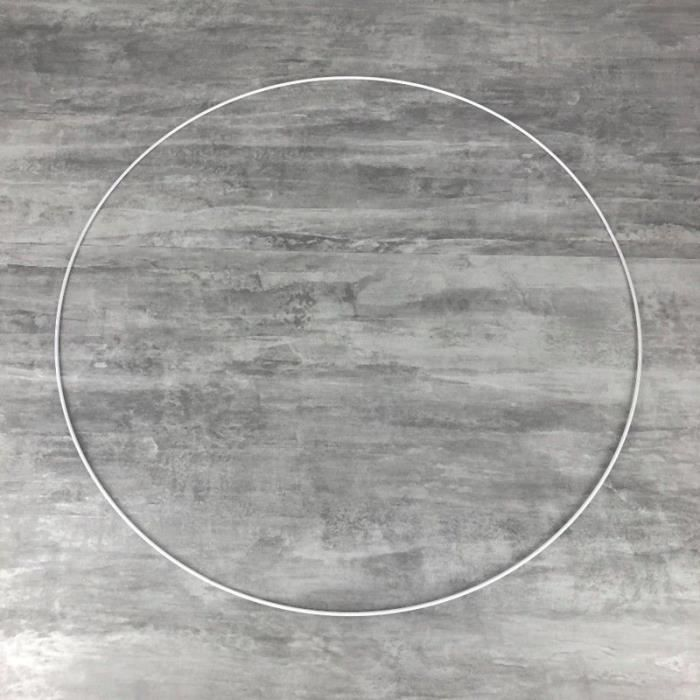 Grand Cercle XXL métallique blanc diam. 70 cm pour abat-jour, Anneau epoxy blanc Attrape rêves - Unique