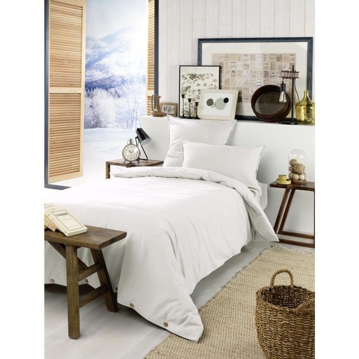 Housse de couette chaude en flanelle 140 x 200 cm Candice Blanc