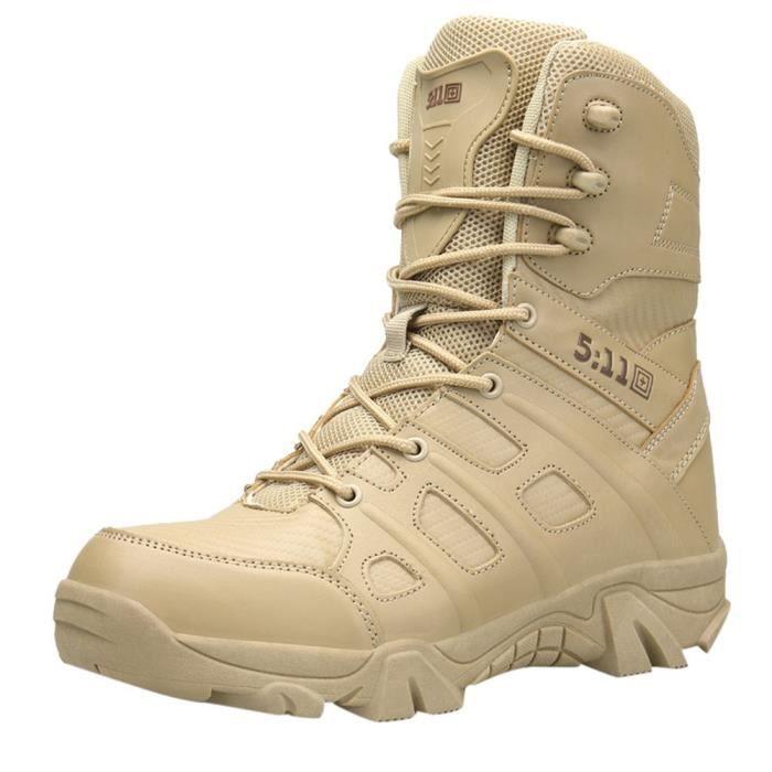 Confortable résistant à l'usure antidérapante Combat randonnée en plein air Bottes militaires hommes Kaki
