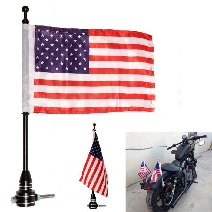 U Drapeau de Moto American USA Flag Flagpole Luggage Rack Mount Pour Harley Noir