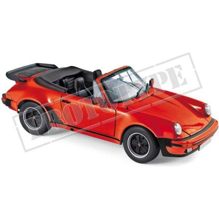 Véhicule Miniature assemble - Porsche 911 Turbo Cabriolet Rouge 1987 1-18 Norev
