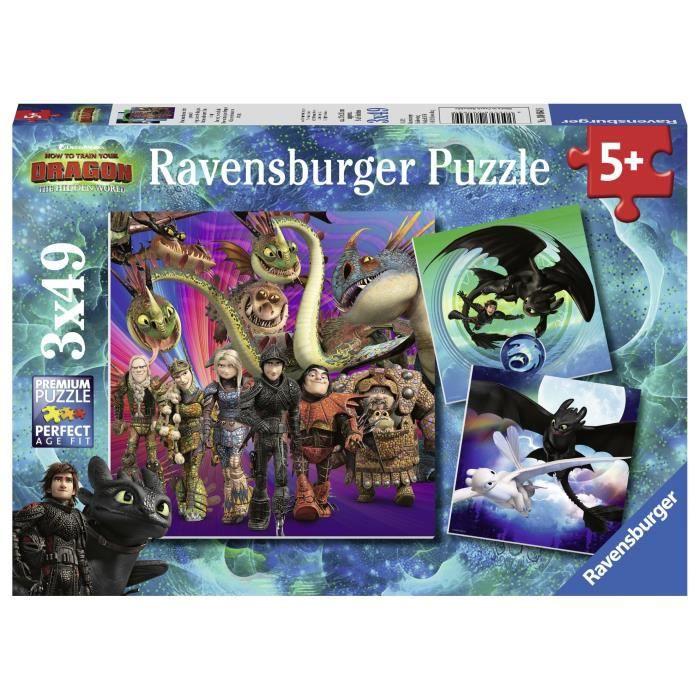 RAVENSBURGER Puzzle 3x49 p - Apprivoiser les dragons / Dragons 3