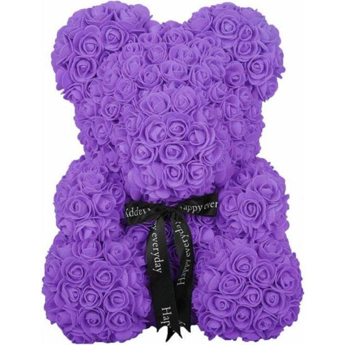 ROSE Ours éternel Fleur Ours en Peluche Fleurs artificielles Saint Valentin Anniversaire de Mariage Anniversaire Cadeaux - violet