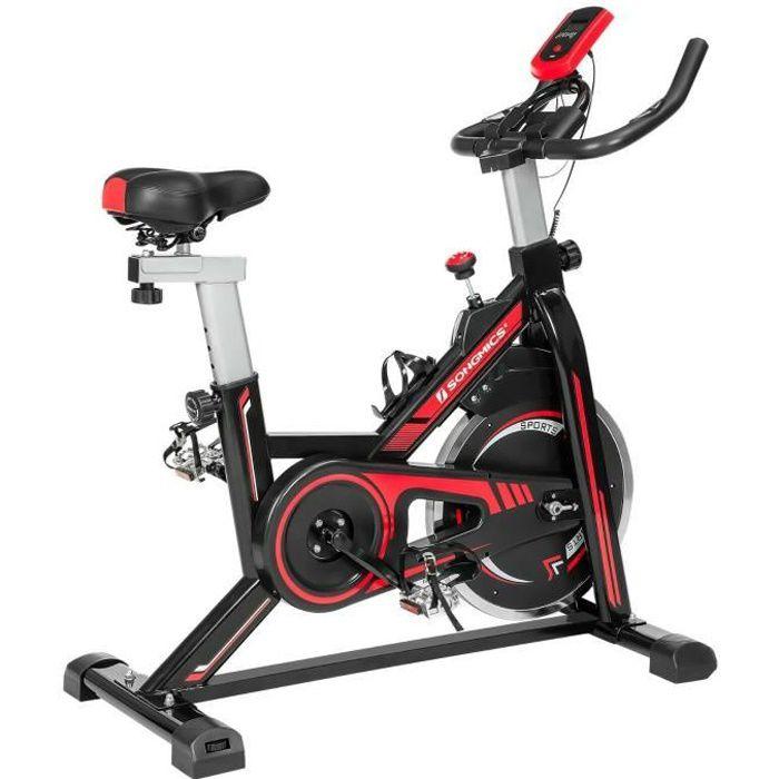 SONGMICS Vélo d'appartement, fitness à la maison, avec siège, guidon réglable, résistance, capteur, pédales, Noir et Rouge SEB617R01